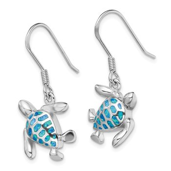 Sterling Silver Rhodium-plated Blue Created Opal Turtle Earrings