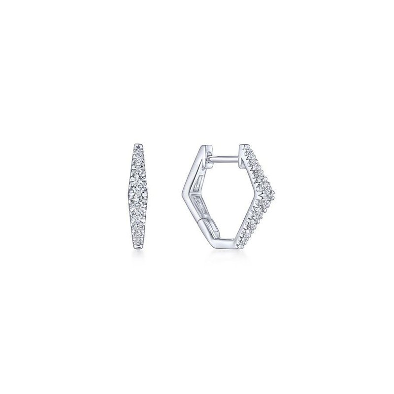 Gabriel  14K White Gold 15mm Diamond Huggie Earrings