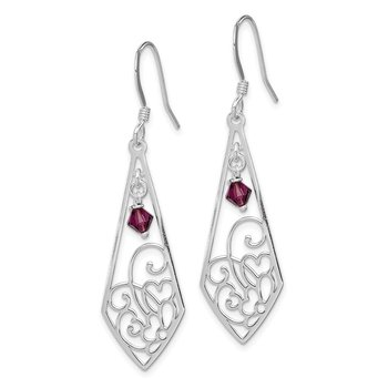 Sterling Silver Polished Amethyst Shepherd Hook Earrings