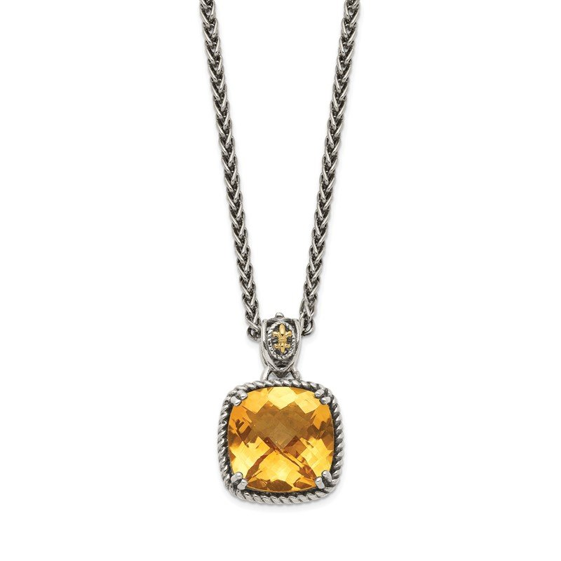 Quality Gold Sterling Silver w/14k Citrine Necklace