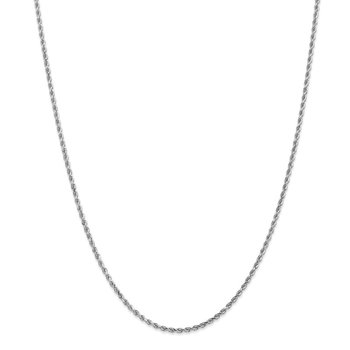 14k White Gold 2mm D/C Rope Chain Anklet
