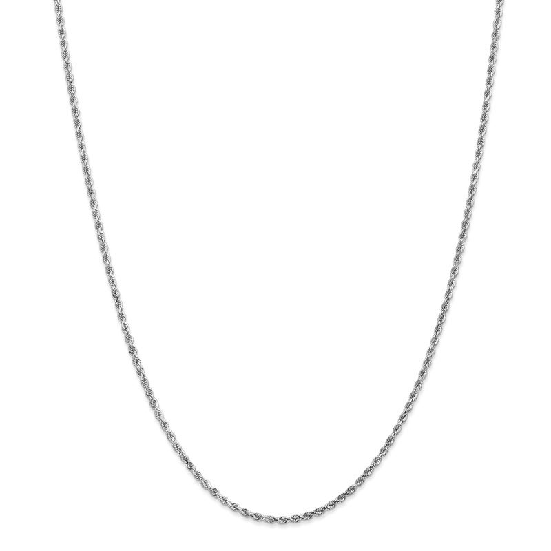 Quality Gold 14k White Gold 2mm D/C Rope Chain Anklet