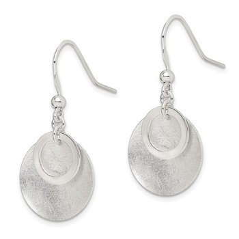 Sterling Silver Polished Textured Circle Shepherd Hook Earrings