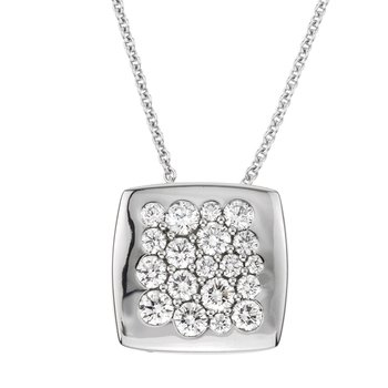 White Gold Diamond 15mm Square Tango Pendant