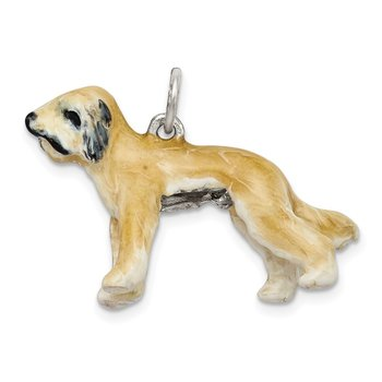 Sterling Silver Enameled Briard Charm