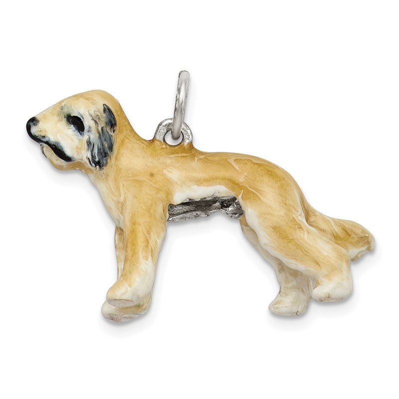 Quality Gold Sterling Silver Enameled Briard Charm