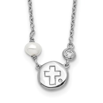 Sterling Silver RH-plated CZ/Cross/FWC Pearl w/2in ext Necklace