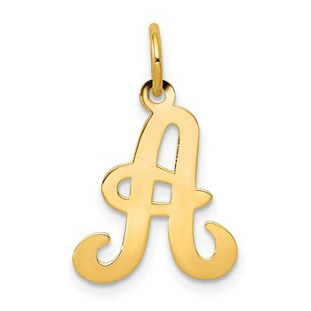 14KY Script Letter A Initial Charm