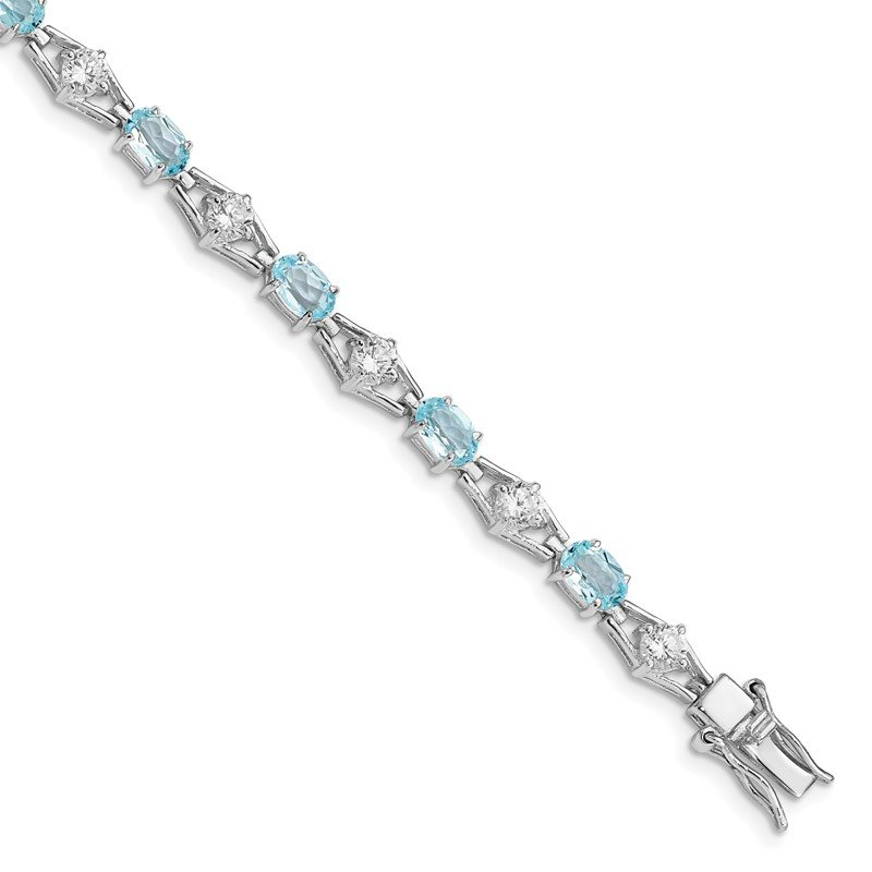 Quality Gold Sterling Silver Rhodium-plated Blue Topaz & CZ Bracelet