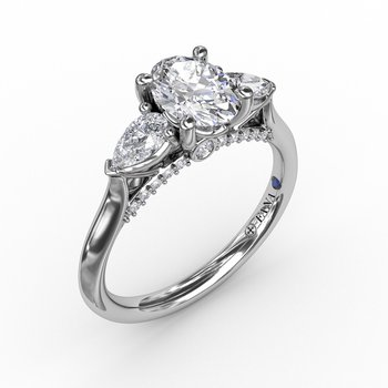 Classic Oval Three-Stone Diamond Engagement Ring With Pear-Shape Side Diamonds