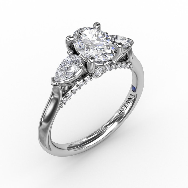 Fana Classic Oval Three-Stone Diamond Engagement Ring With Pear-Shape Side Diamonds