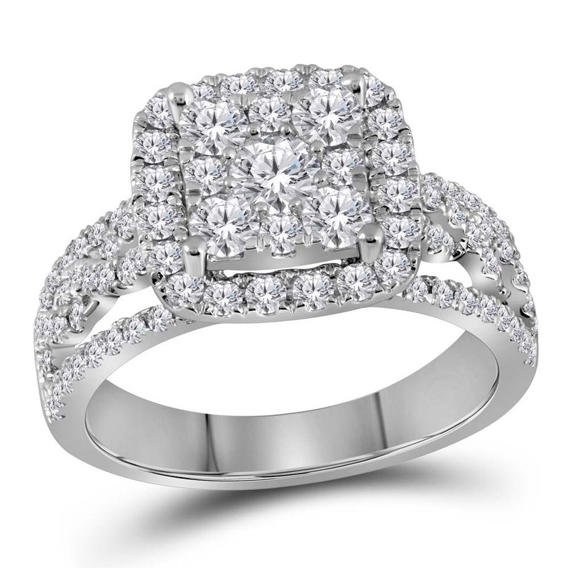Kingdom Treasures 14kt White Gold Womens Round Diamond Cluster Bridal Wedding Engagement Ring 1-1/2 Cttw