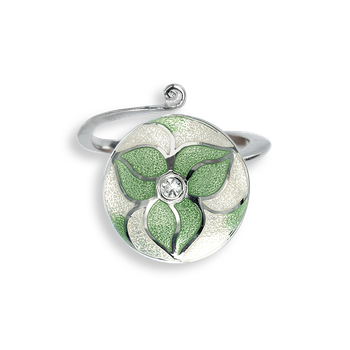 Sterling Silver Ring-Trillium-Green-White Sapphire