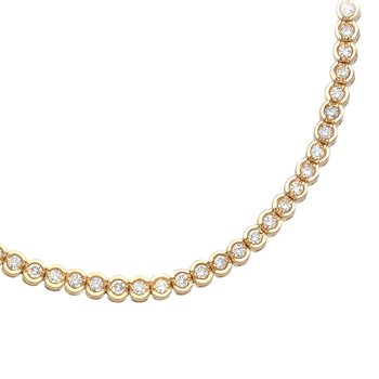 14K Yellow Gold Round Diamond Circular Style Tennis Bracelet