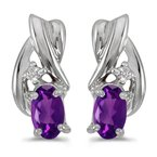 Color Merchants 14k White Gold Oval Amethyst And Diamond Earrings