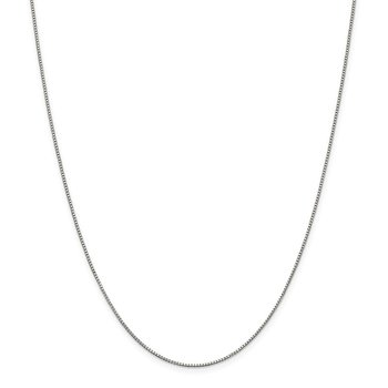 Sterling Silver Rhodium-plated .9mm Box Chain w/2in ext.