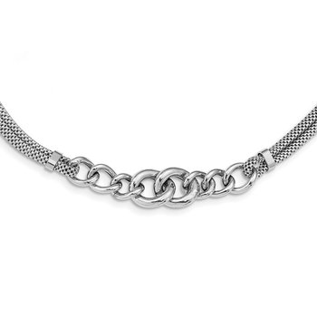 Sterling Silver Rhodium-plated Fancy Chain w/2in Ext. 2-strand Necklace