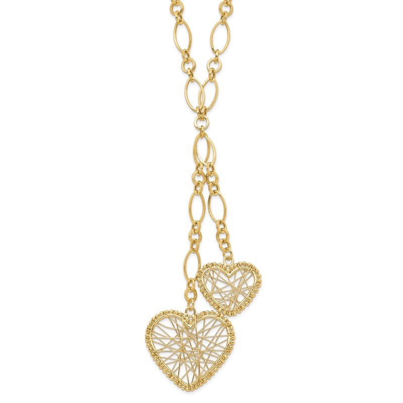 Quality Gold 14K Adjustable Heart Drop Necklace
