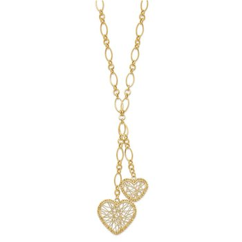 14K Adjustable Heart Drop Necklace