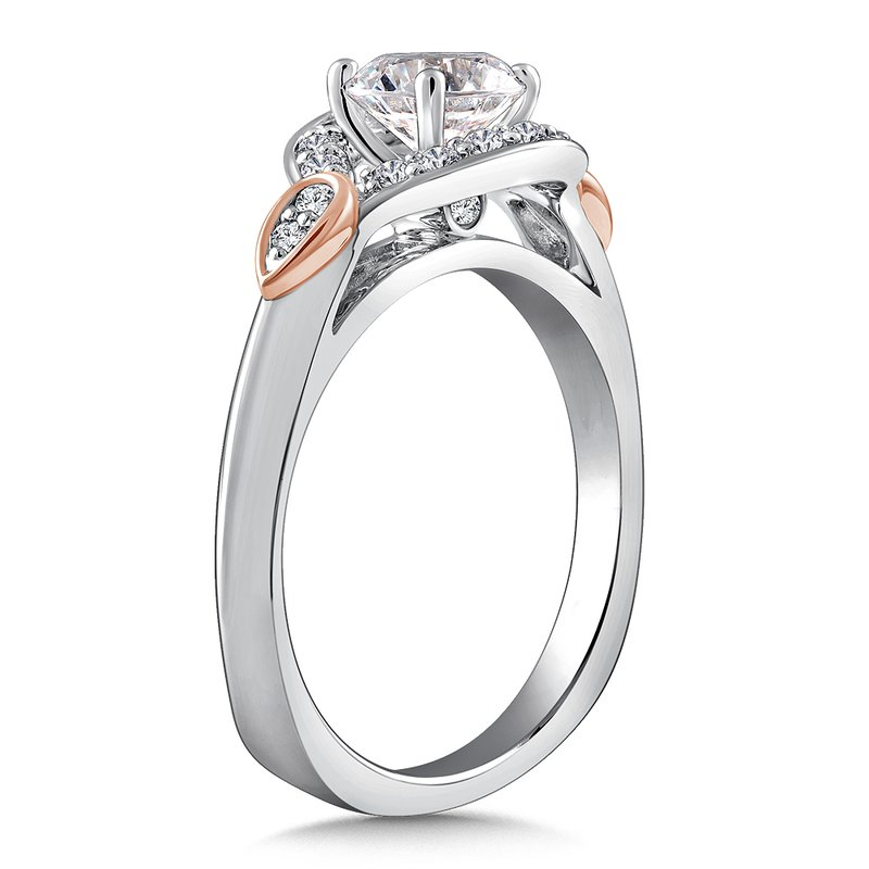 Caro74 Diamond Engagement Ring Mounting in 14K White/Rose Gold with Platinum Head (.22 ct. tw.)