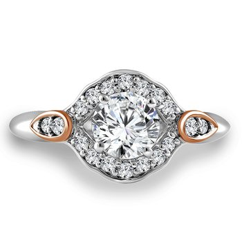 Diamond Engagement Ring Mounting in 14K White/Rose Gold with Platinum Head (.22 ct. tw.)