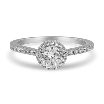 14K WG Diamond Engagement Ring with Round Halo in Prong Setting