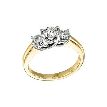 14k Yellow Gold 1.00 Ct Three Stone Trellis Diamond Ring