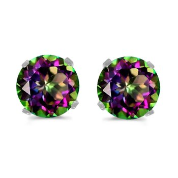 5mm Round Mystic Topaz Stud Earrings Set in 14k White Gold