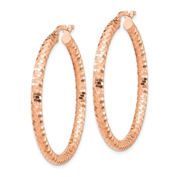 14k Rose Gold 3x30mm Diamond-cut Hoop Earrings