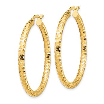 14K 3x30mm Diamond-cut Hoop Earrings