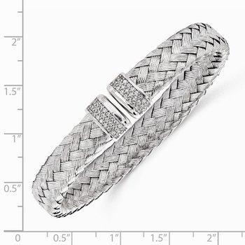 Leslie's Sterling Silver CZ Woven Flexible Cuff