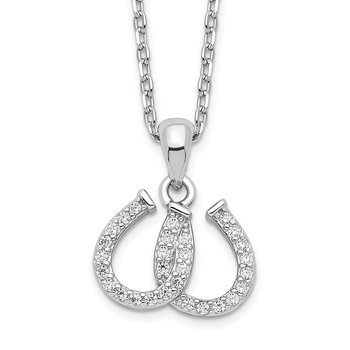 Sterling Silver Rhodium-plated CZ Double Horseshoe Necklace