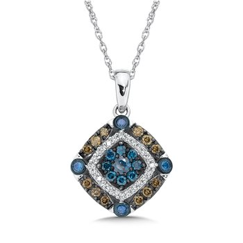 Pave set Blue, Cognac and White Diamond  Pendant, 10k White Gold  (1/2 ct. tw.)