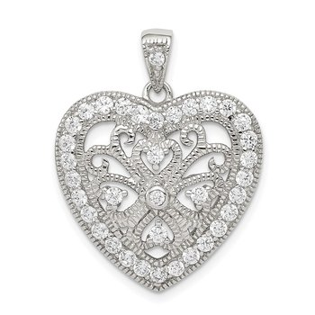 Sterling Silver Rhodium-plated CZ Filigree Heart Pendant