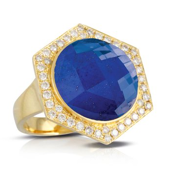 Royal Lapis Diamond Halo Ring 18KY