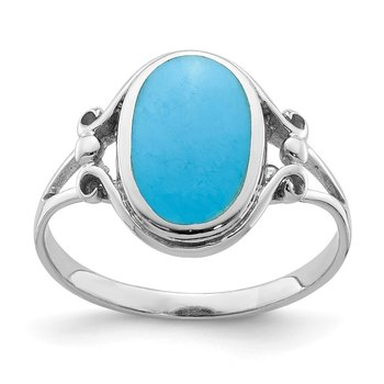 Sterling Silver Rhodium-plated Polished Synthetic Turquoise Ring