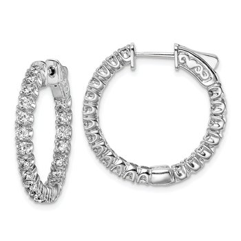 Sterling Silver CZ 40 Stones In and Out Round Hoop Earrings