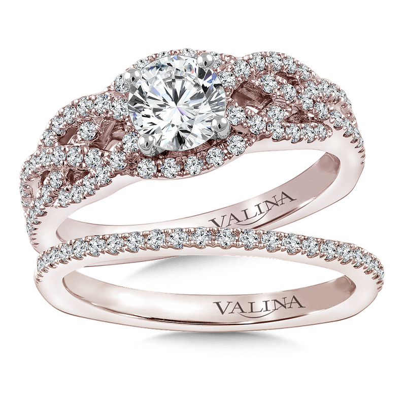 Valina Diamond Engagement Ring Mounting in 14K Rose Gold (.46 ct. tw.)