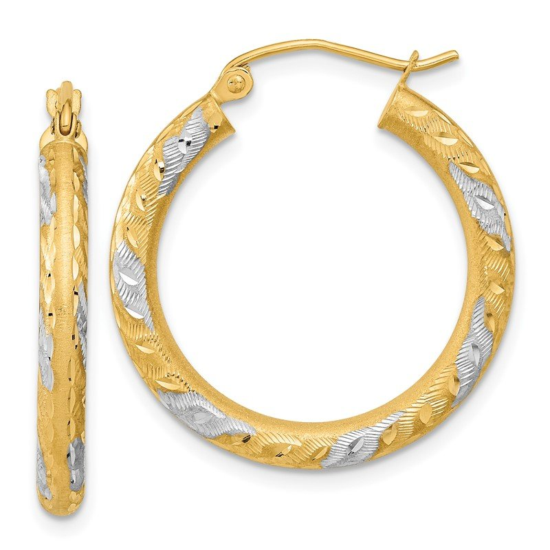 Quality Gold 14k White Rhodium Diamond-cut Satin Hoop Earrings