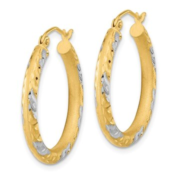 14k White Rhodium Diamond-cut Satin Hoop Earrings