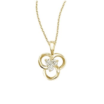 14k Yellow Gold Diamond Flower Pendant (.24 carat)