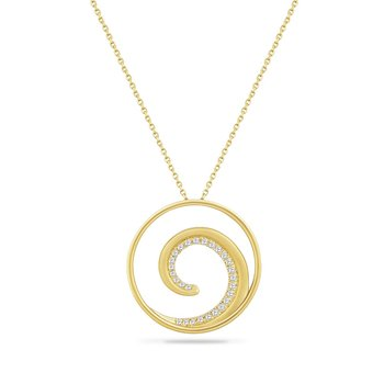 "14K WAVE NECKLACE WITH 27 DIAMONDS 0.18CT ON A 18"" INCH CHAIN, DIAMETER  31MM"