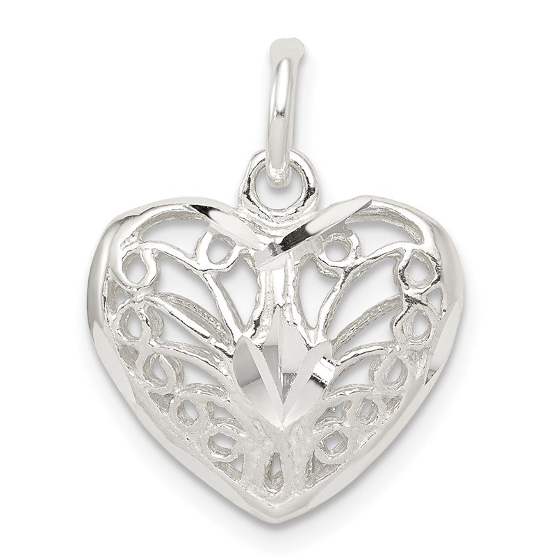 Fine Jewelry by JBD Sterling Silver Filigree Heart Charm