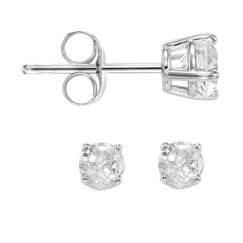 14K White Topaz Studs 3 mm RD