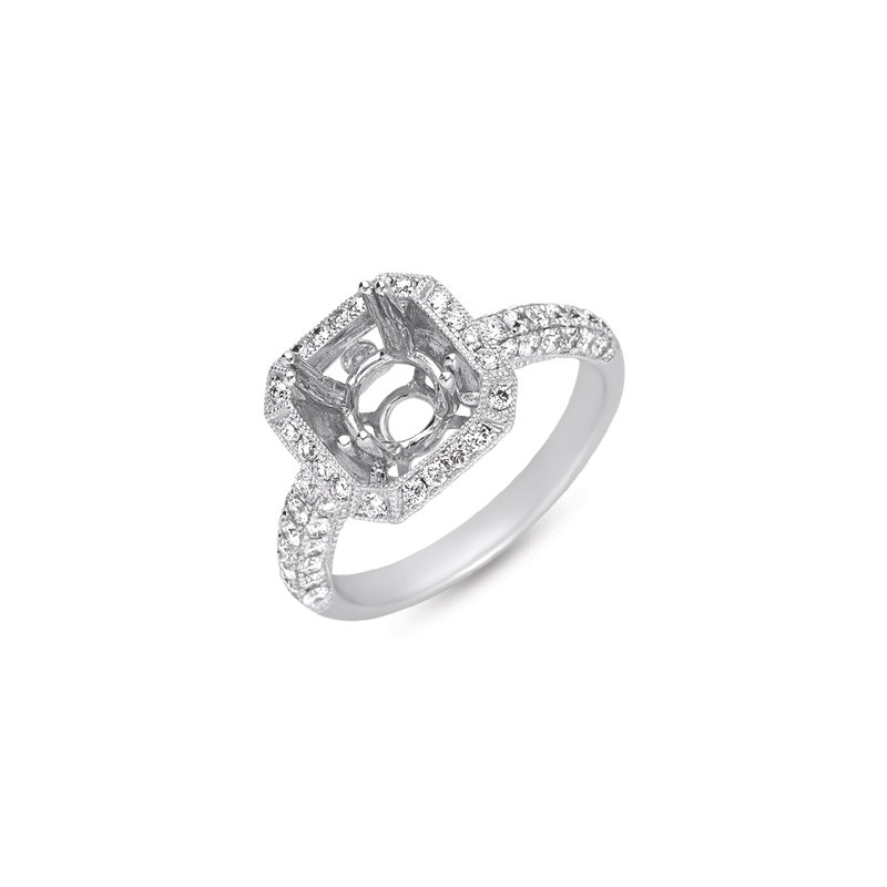 S. Kashi & Sons Bridal White Gold Engagement Ring Pave