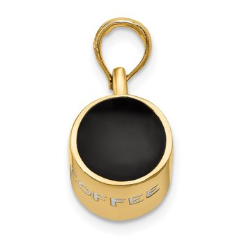 14K 3D Enameled Coffee Cup Pendant