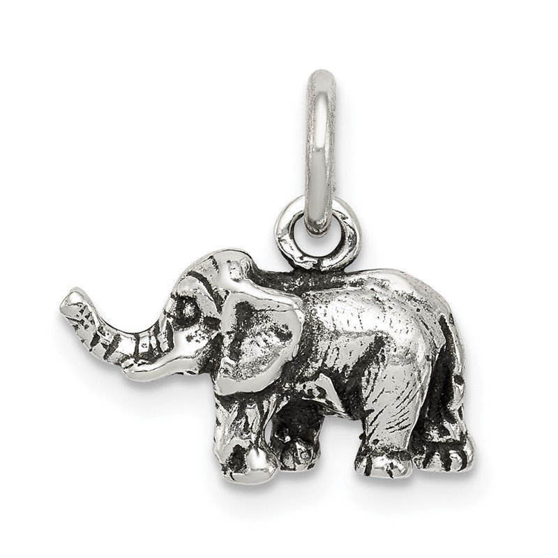 Quality Gold Sterling Silver Antiqued Elephant Charm