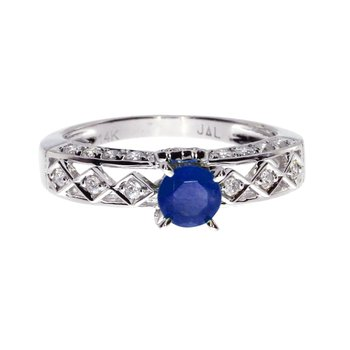 14k White Gold Oval Sapphire Solitaire Ring