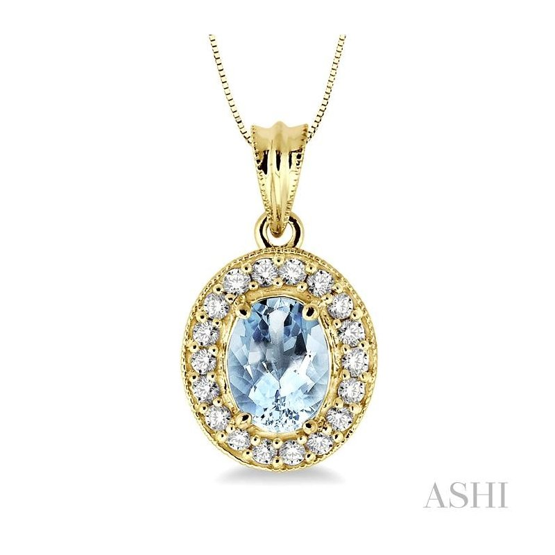 ASHI oval shape gemstone & diamond pendant