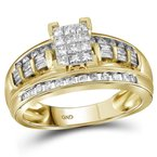 Kingdom Treasures 14kt Yellow Gold Womens Princess Diamond Cluster Bridal Wedding Engagement Ring 1/2 Cttw - Size 6